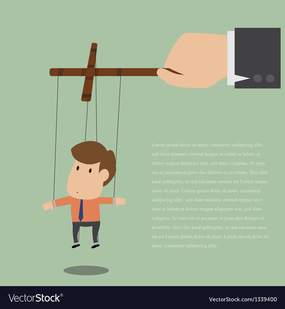 Marionette of Businessman with rope controlled