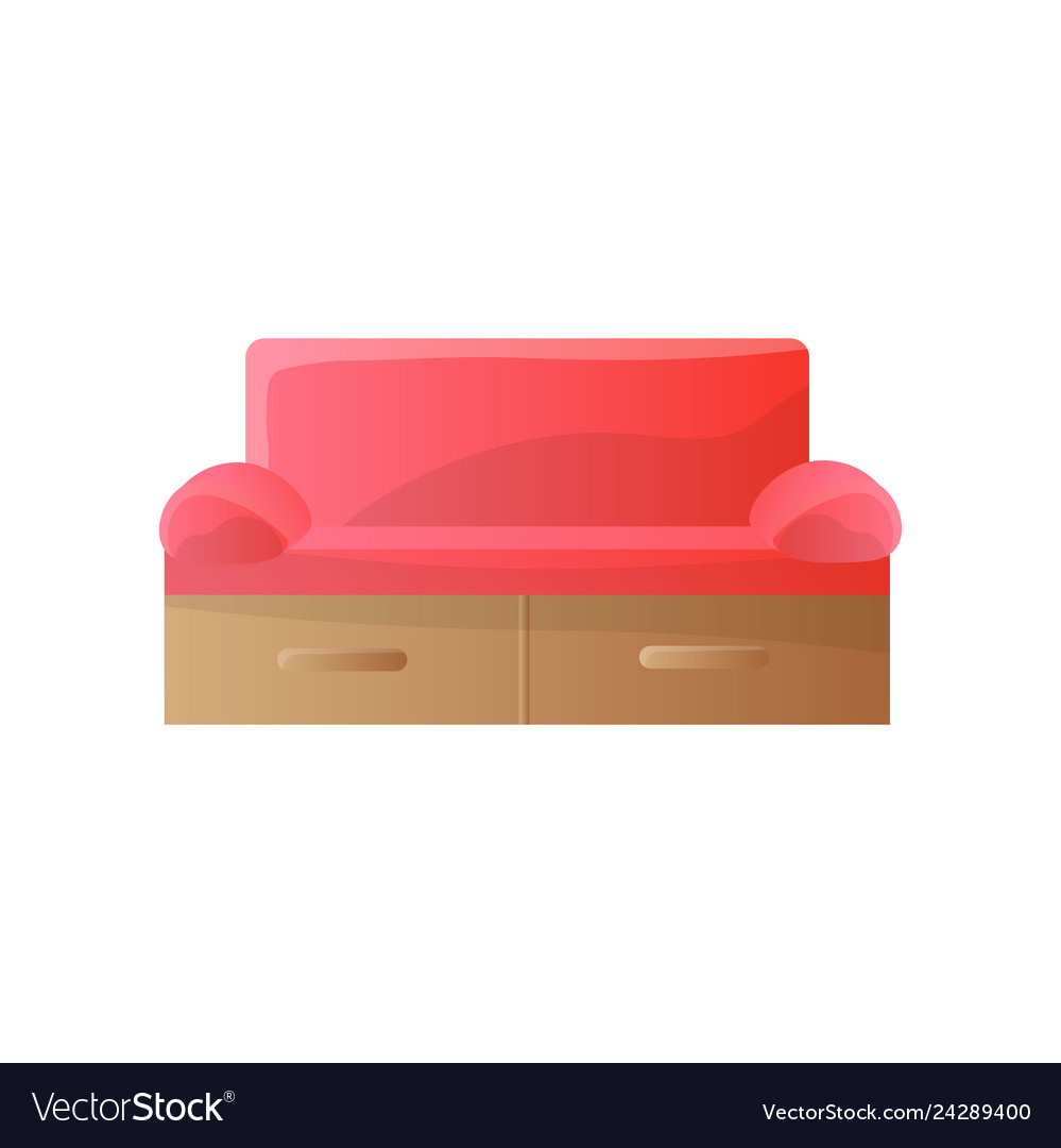 Modern red sofa with tight rounded arms and Vector Image