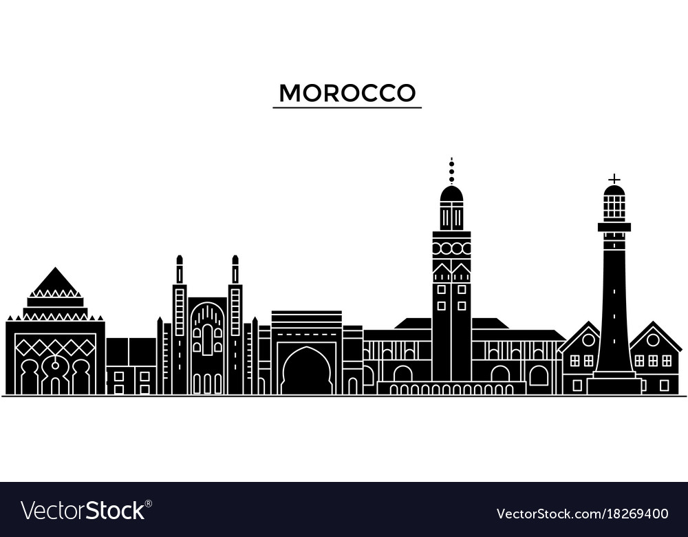 morocco architecture city skyline travel vector image