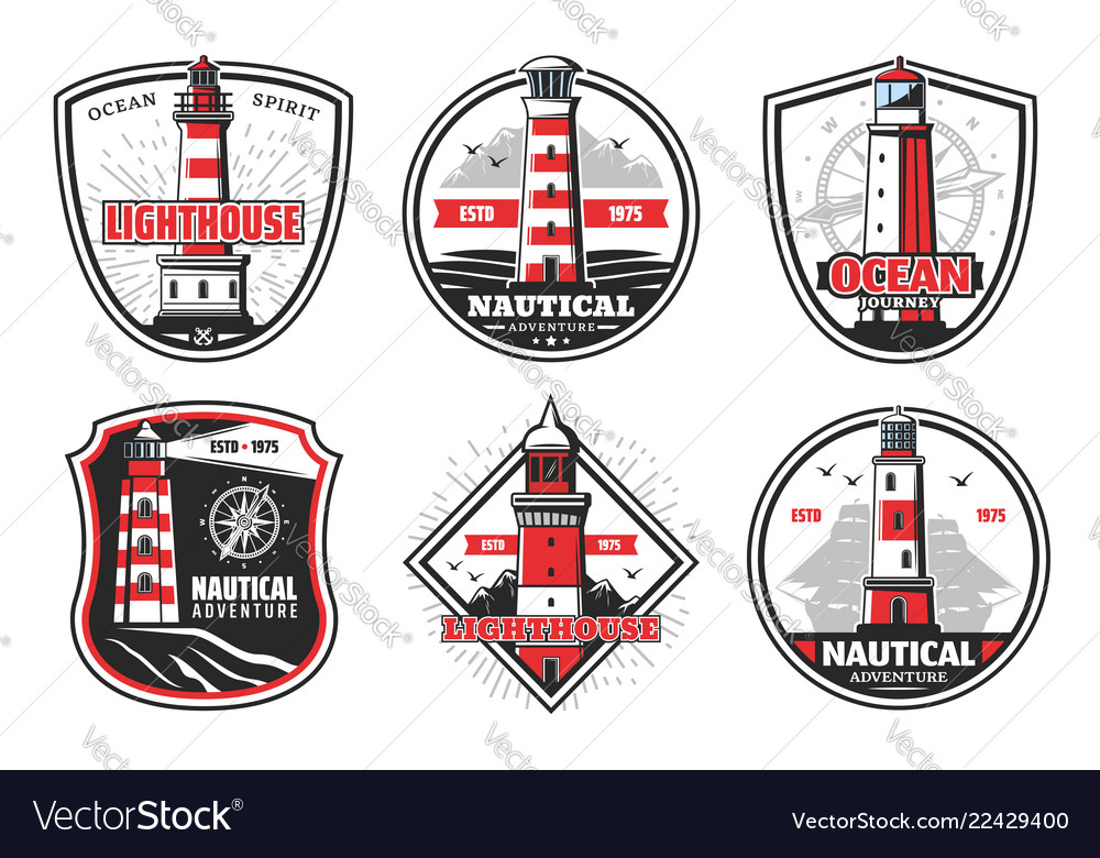 Nautical beacons and lighthouse on cliff