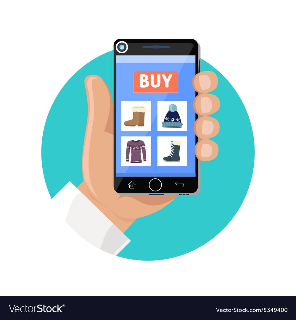 c2689bff16d7ab Online Shop Icon Flat Sale and Buy Royalty Free Vector Image