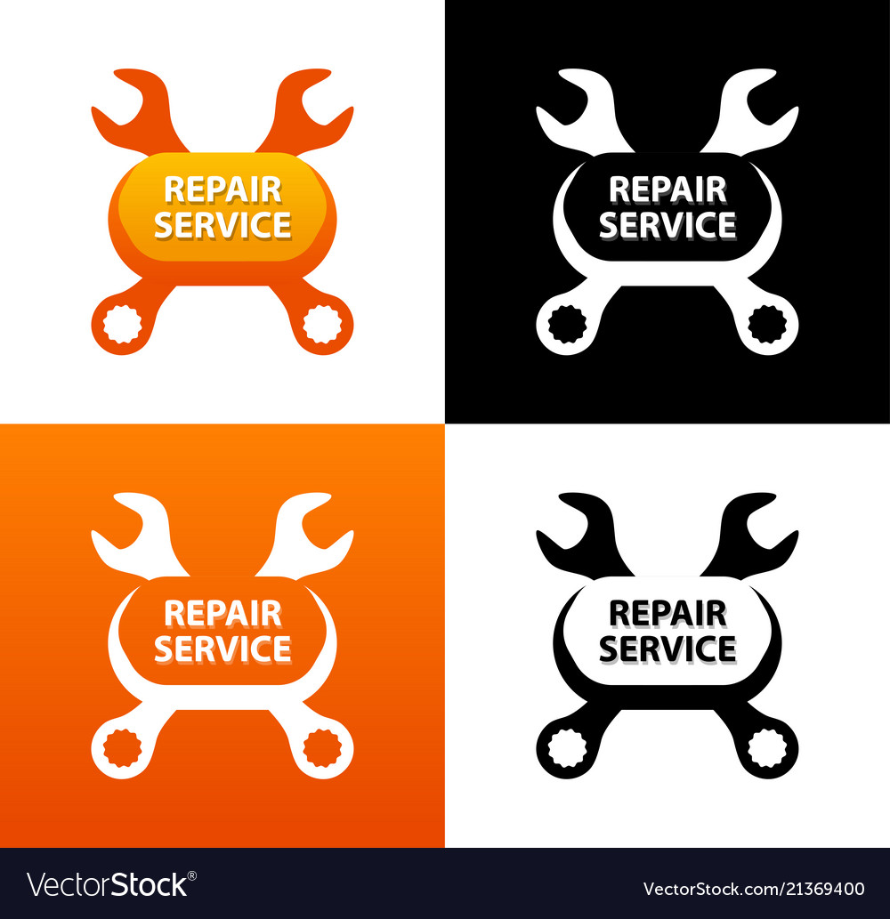 Repair service emblem with crest of wrenches