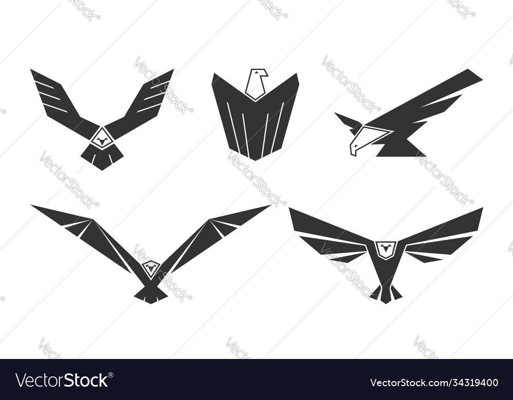 Set american bald eagles for logo