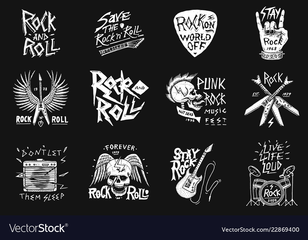 Set of rock and roll music symbols with guitar