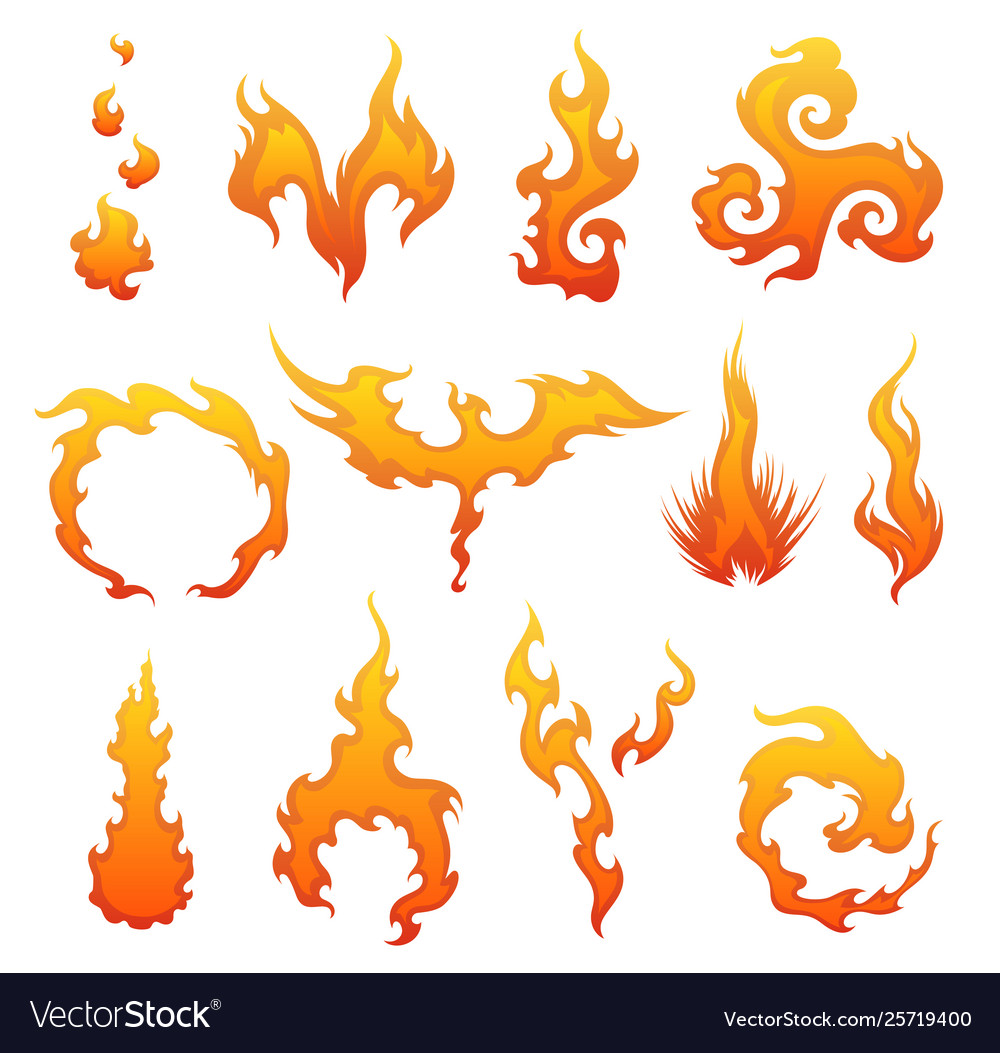 Set red and orange fire flame collection of