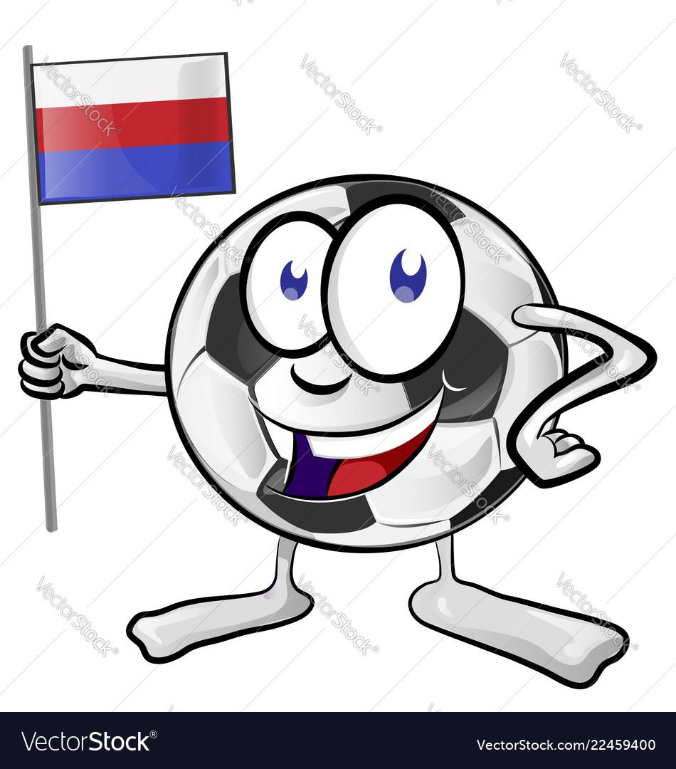 Soccer ball cartoon with russian flag