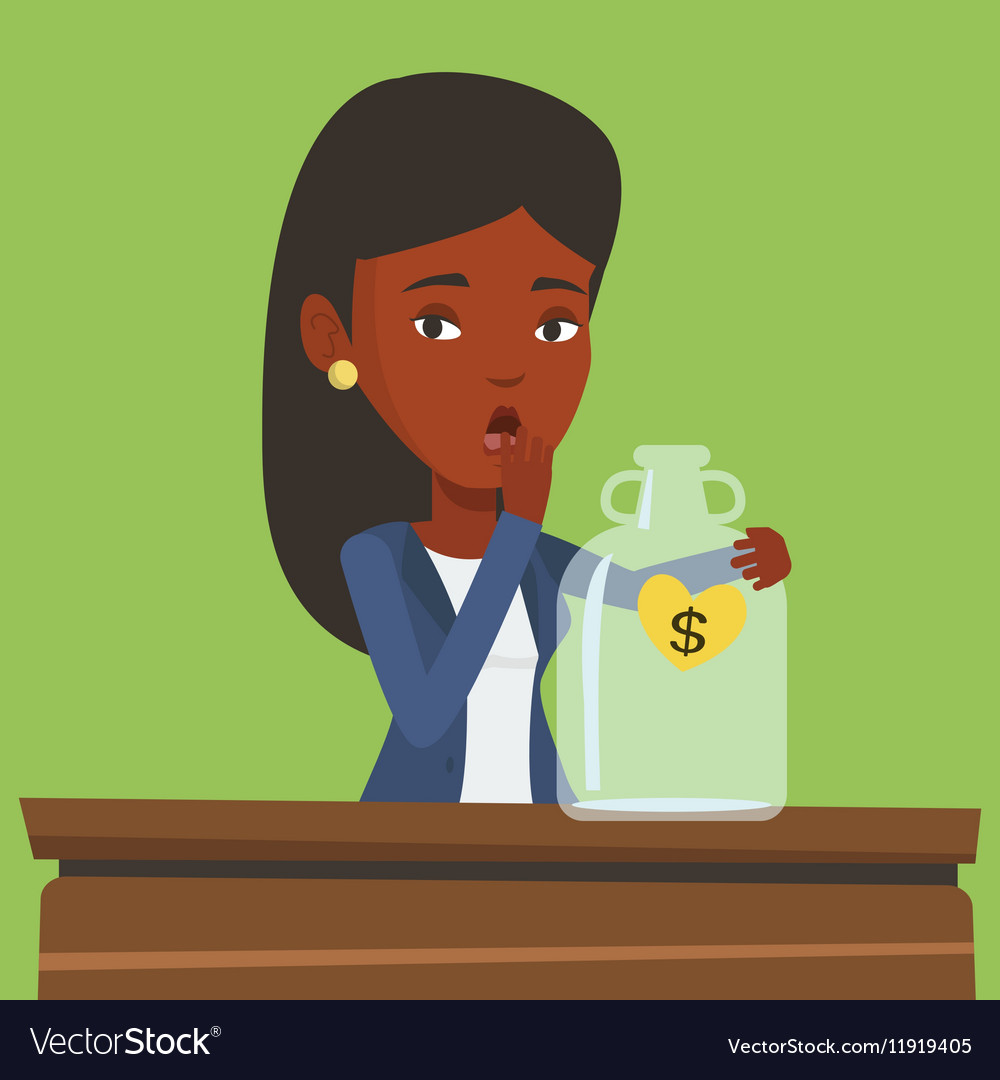 Bankrupt business woman looking at empty money box