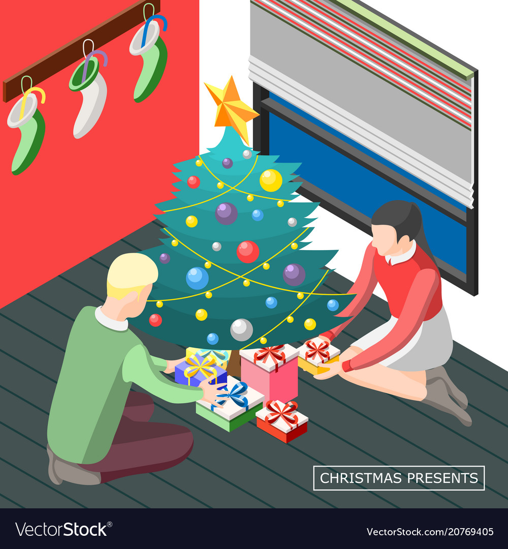 Christmas presents isometric background
