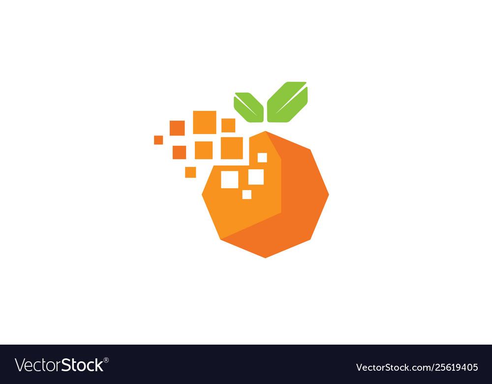 Creative digital pixel orange fruit logo design