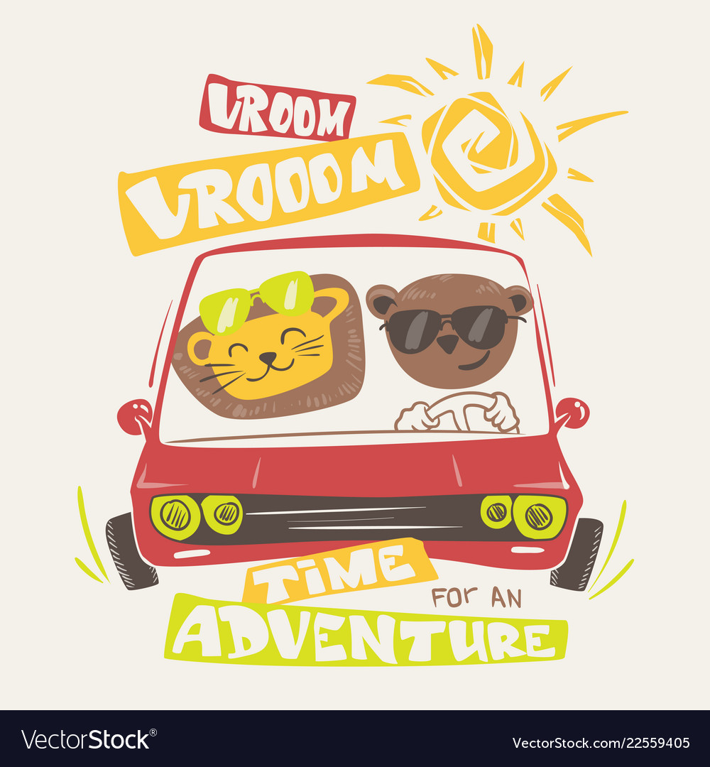 Cute animals driving print design for apparel