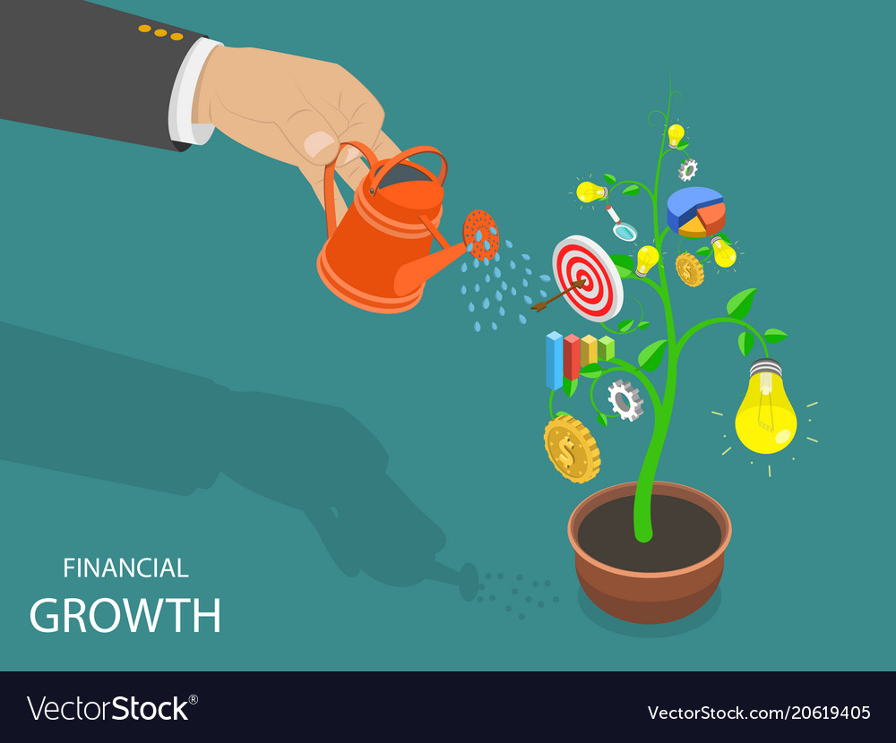 Financial growth flat isometric concept