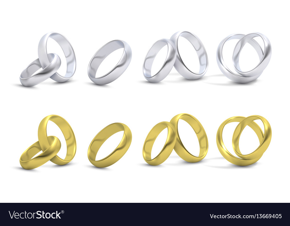 Gold and silver wedding engagement rings isolated