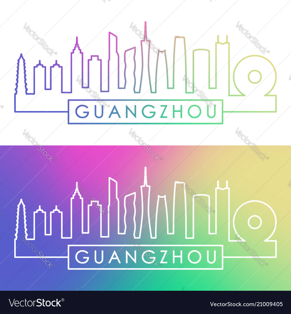 Guangzhou skyline colorful linear style editable