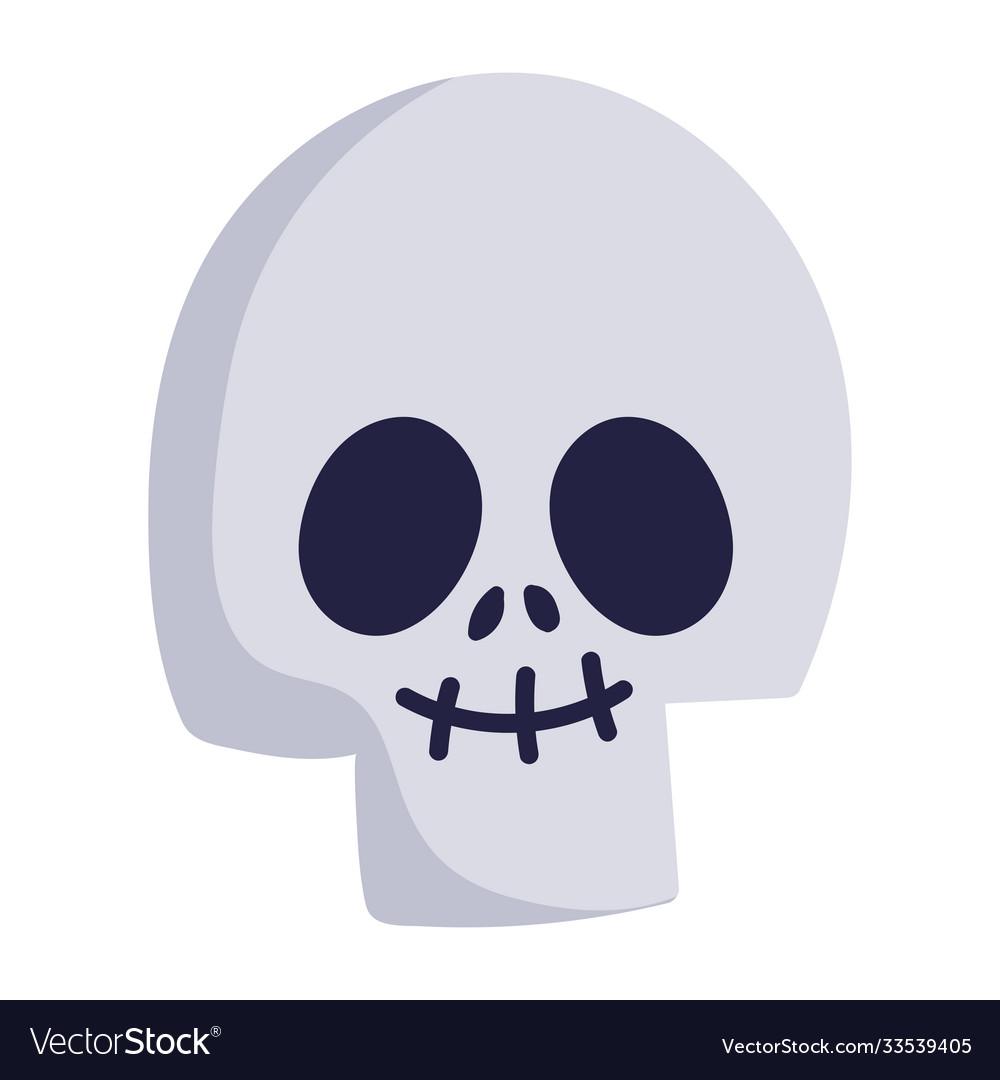 Happy halloween funny skull cartoon trick