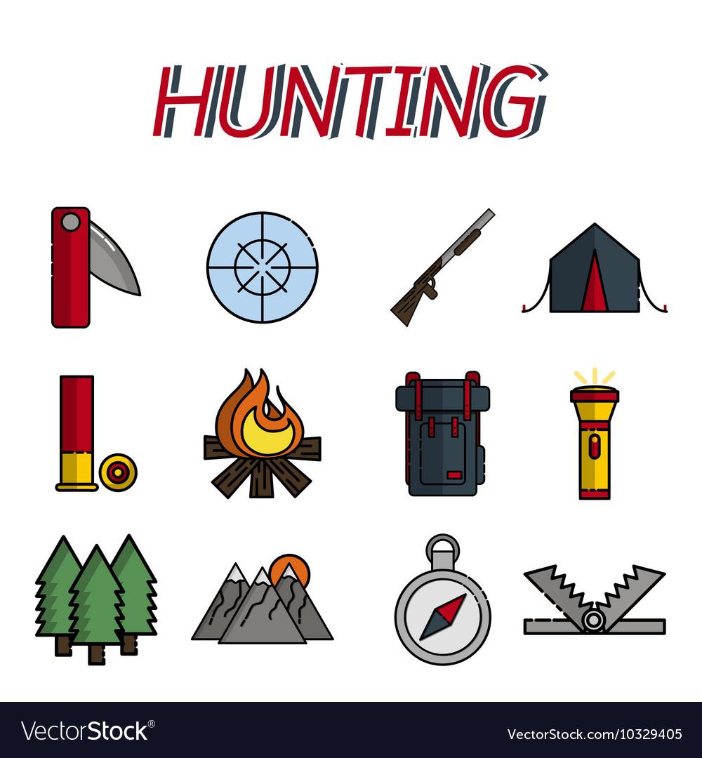 Hunting flat icons set vector image