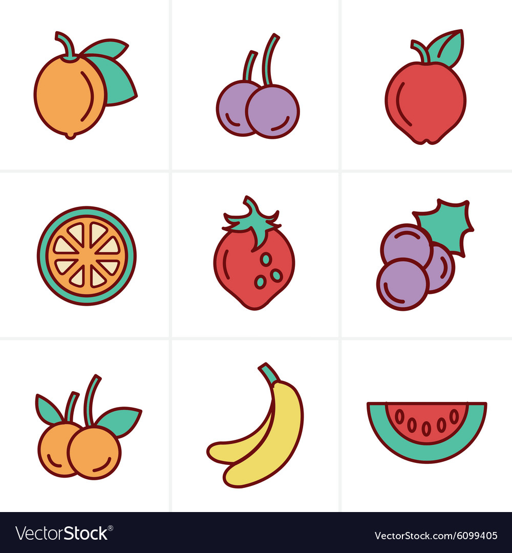 Icons Style Fruit Icons Set Design vector image