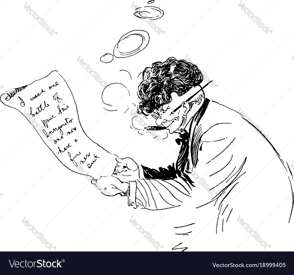 Man Writing Letter Or Vintage Vector Image