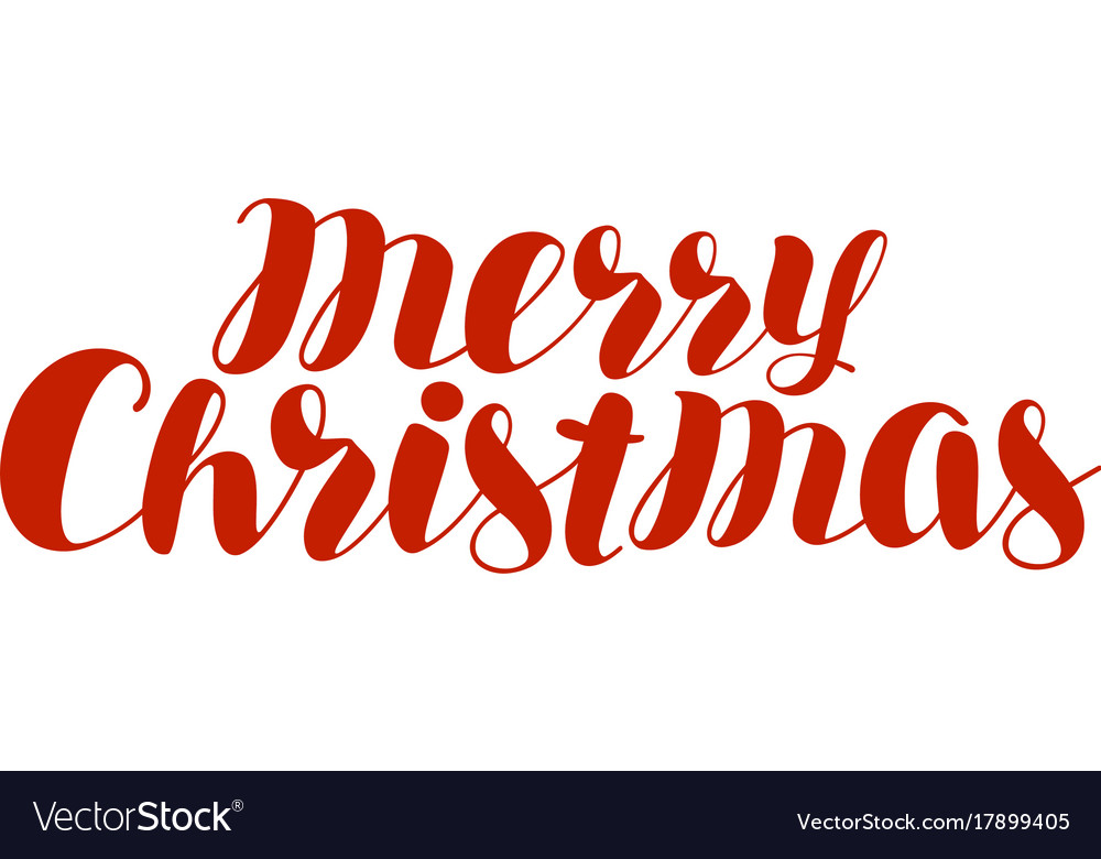 Merry Christmas Text.Merry Christmas Text Xmas Holiday Symbol Hand