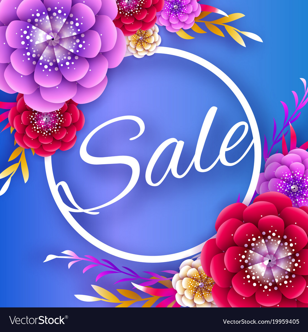 Origami spring sale flowers banner paper cut vector image mightylinksfo