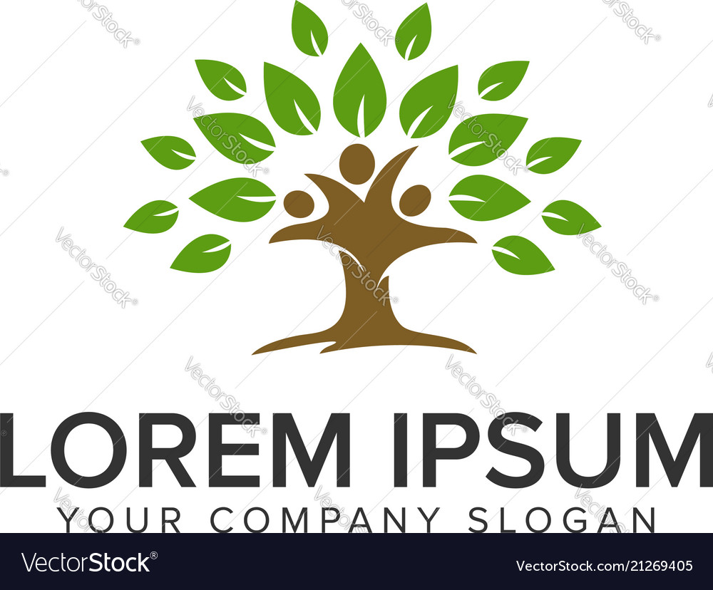 People tree logo design concept template fully
