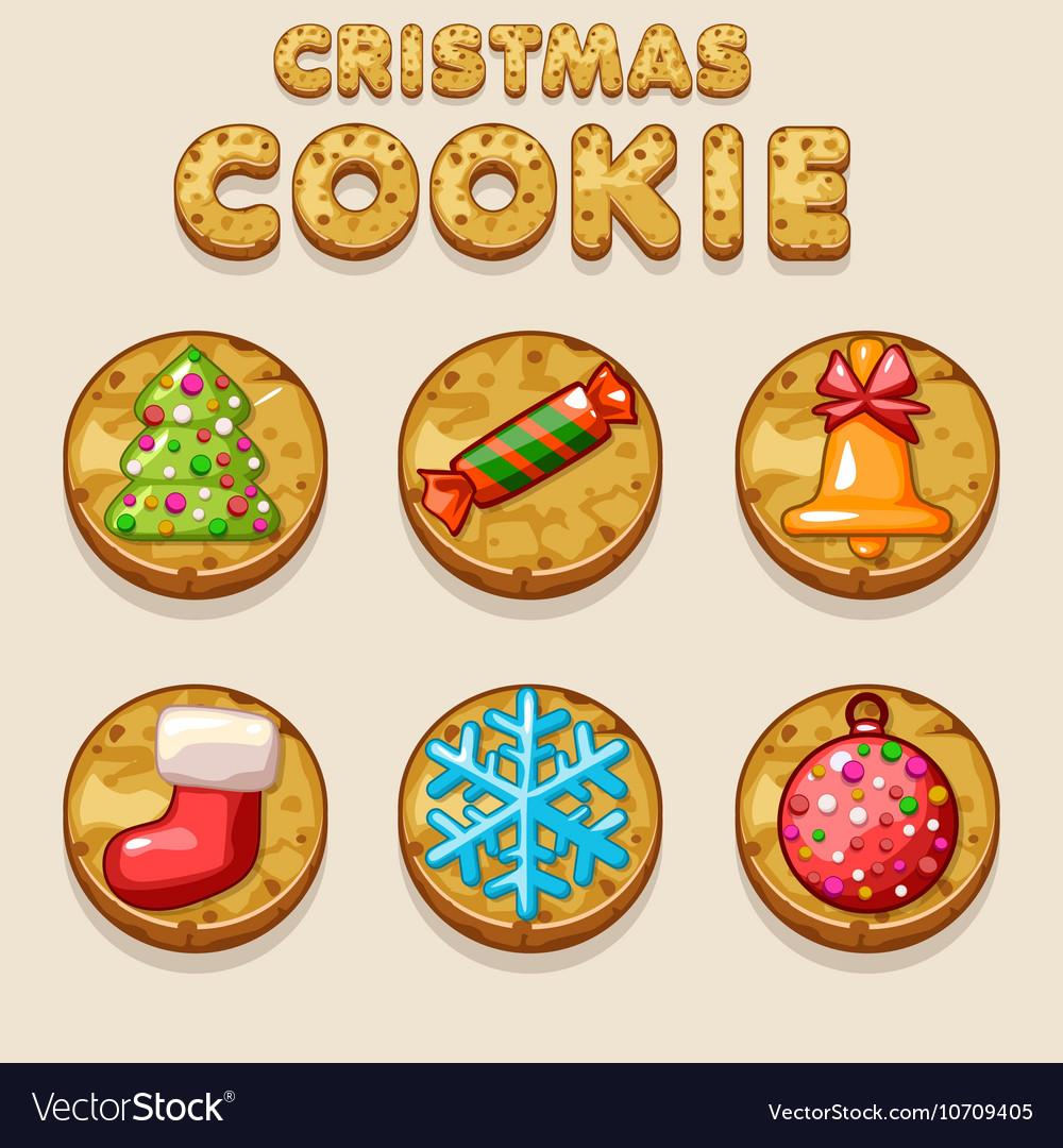 Set Cartoon Christmas Cookies Biskvit Food Icons