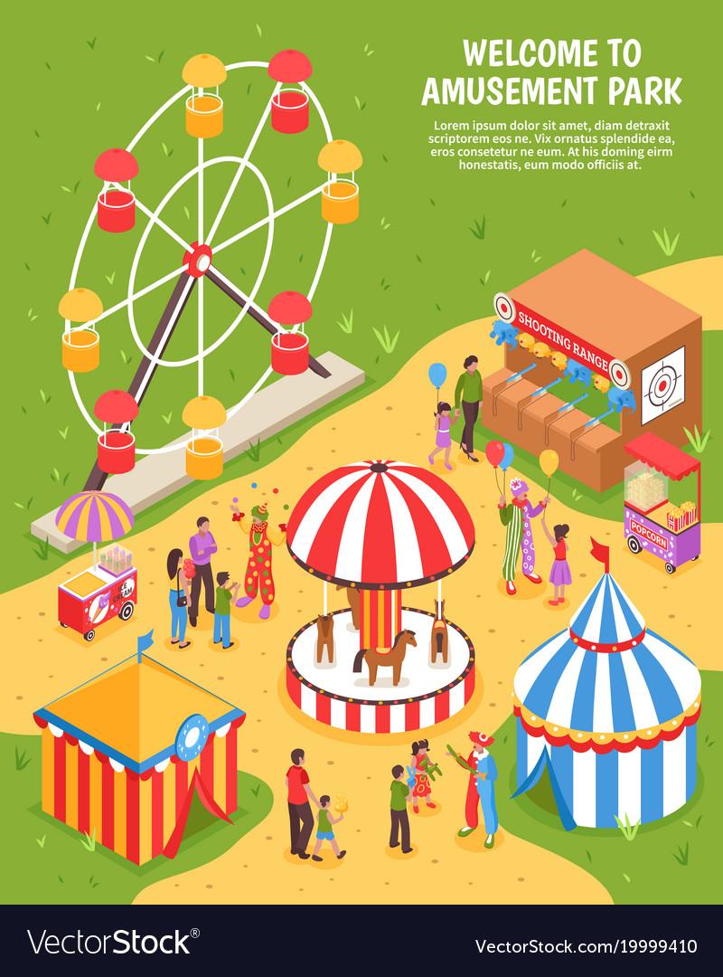Amusement park isometric poster