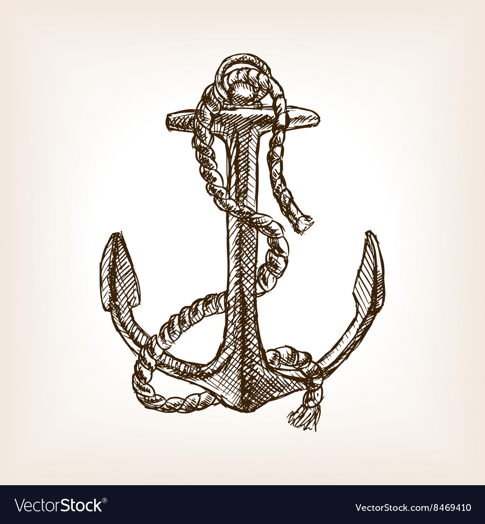 Anchor and rope sketch style