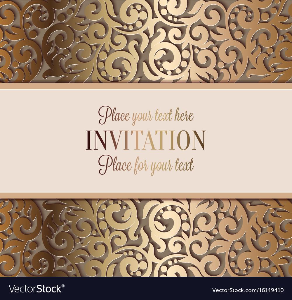 Luxury Wedding Invitations.Antique Luxury Wedding Invitation Gold On Beige