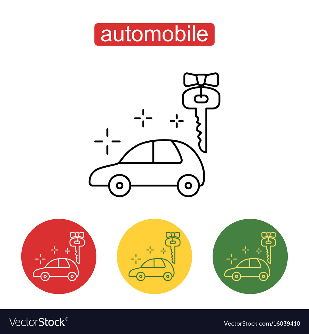 Car prize icon in thin outline style vector image