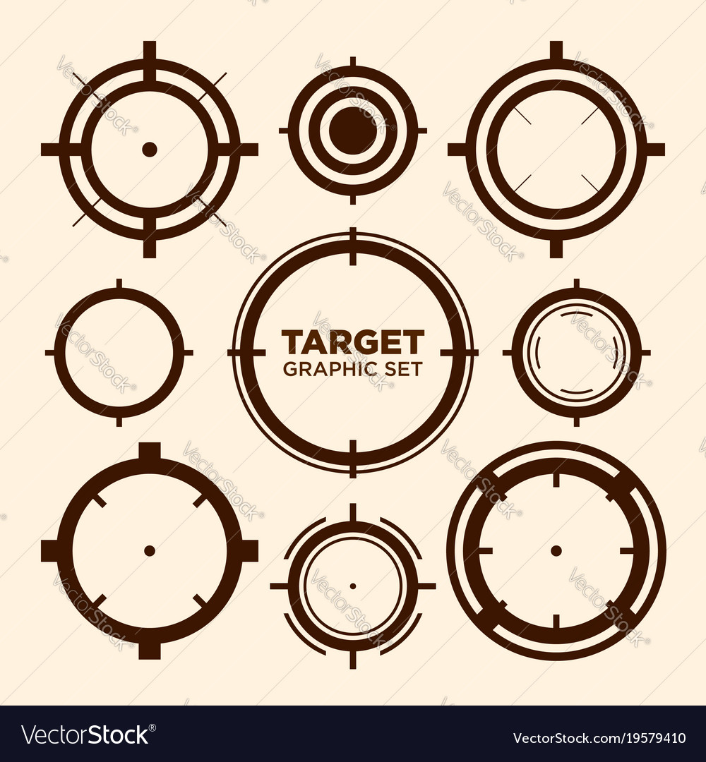 Crosshair target graphic icon graphic set