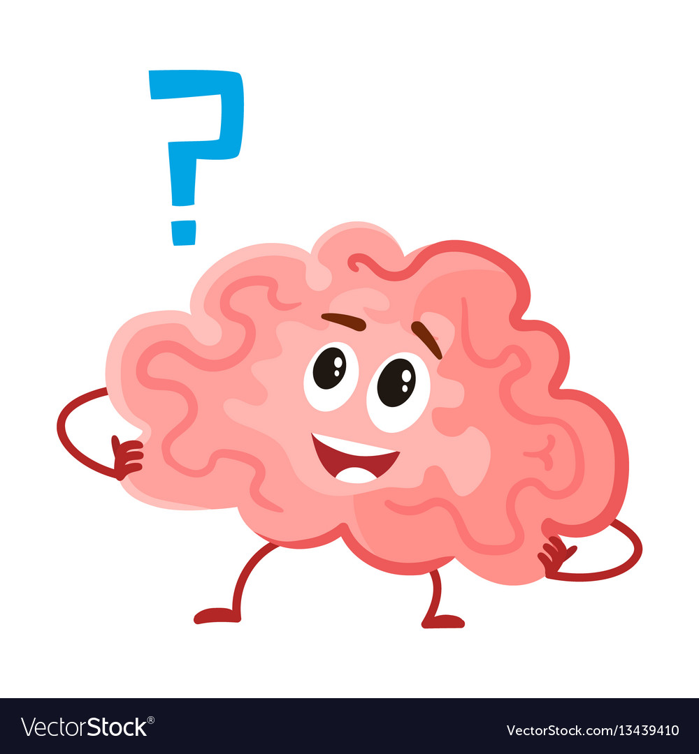 Cute and funny smiling human brain character vector image