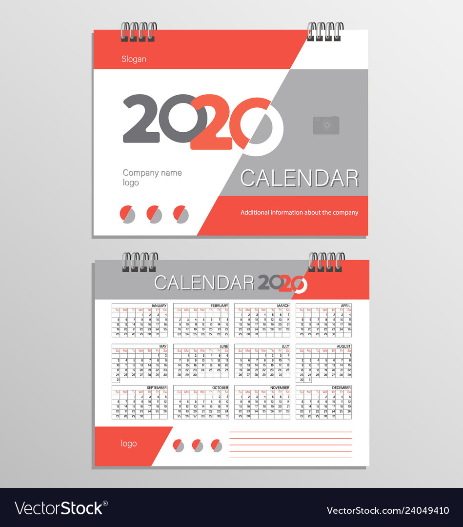2020 Desk Calendar.Desk Calendar Template For 2020 Year