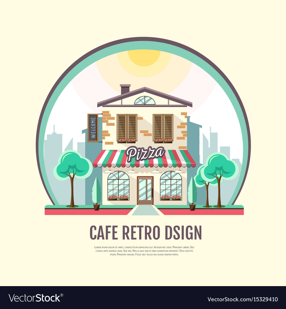 Flat style icon design of pizza cafe building