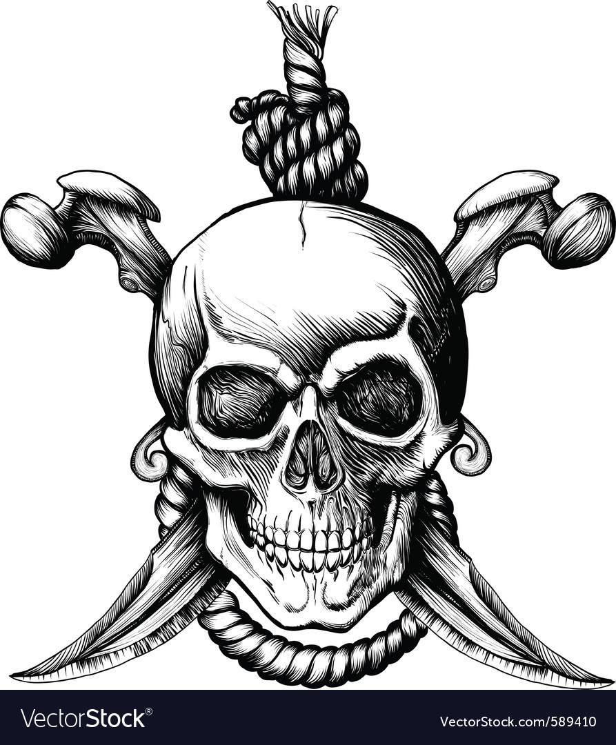 Jolly roger skull vector image