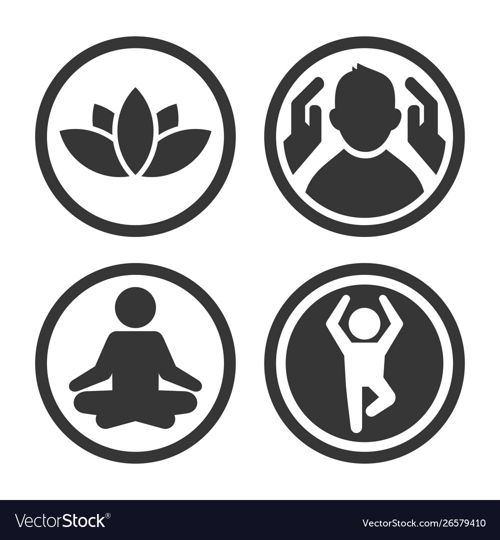 Massage spa and yoga center icons set logo on