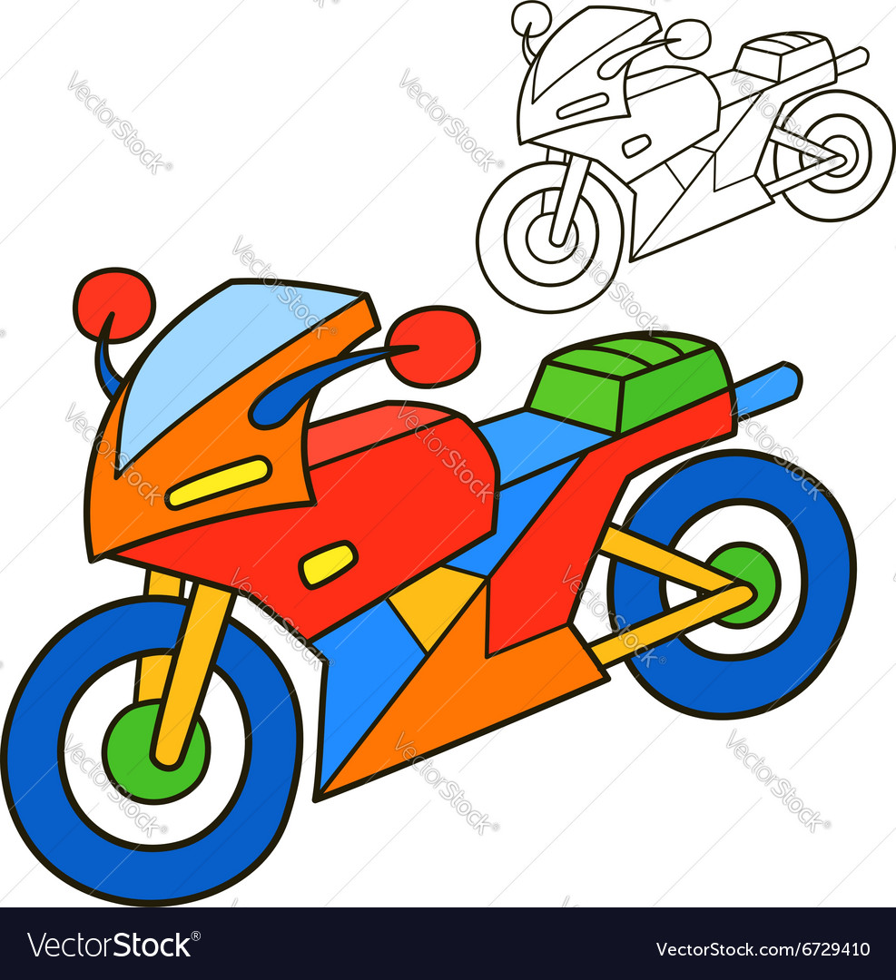 Motorcycle Coloring book page Royalty Free Vector Image