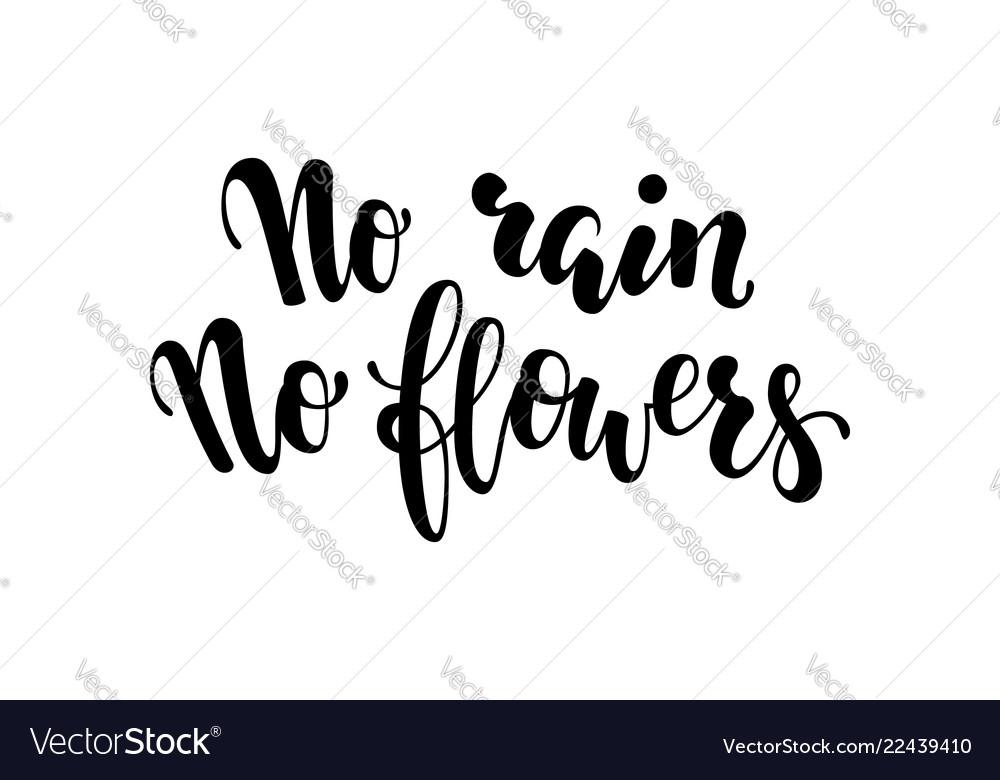 No rain no flowers postcard inspirational and