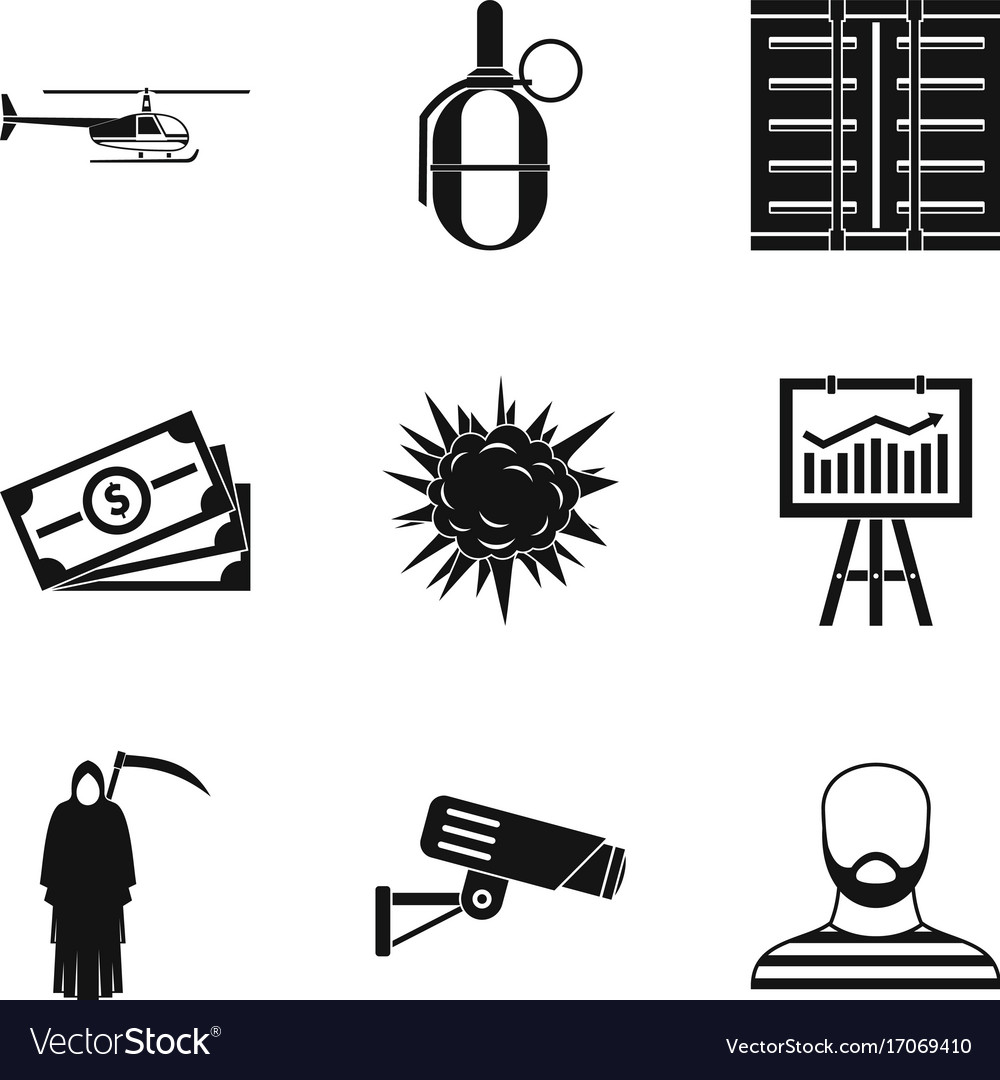 Perpetrator icons set simple style