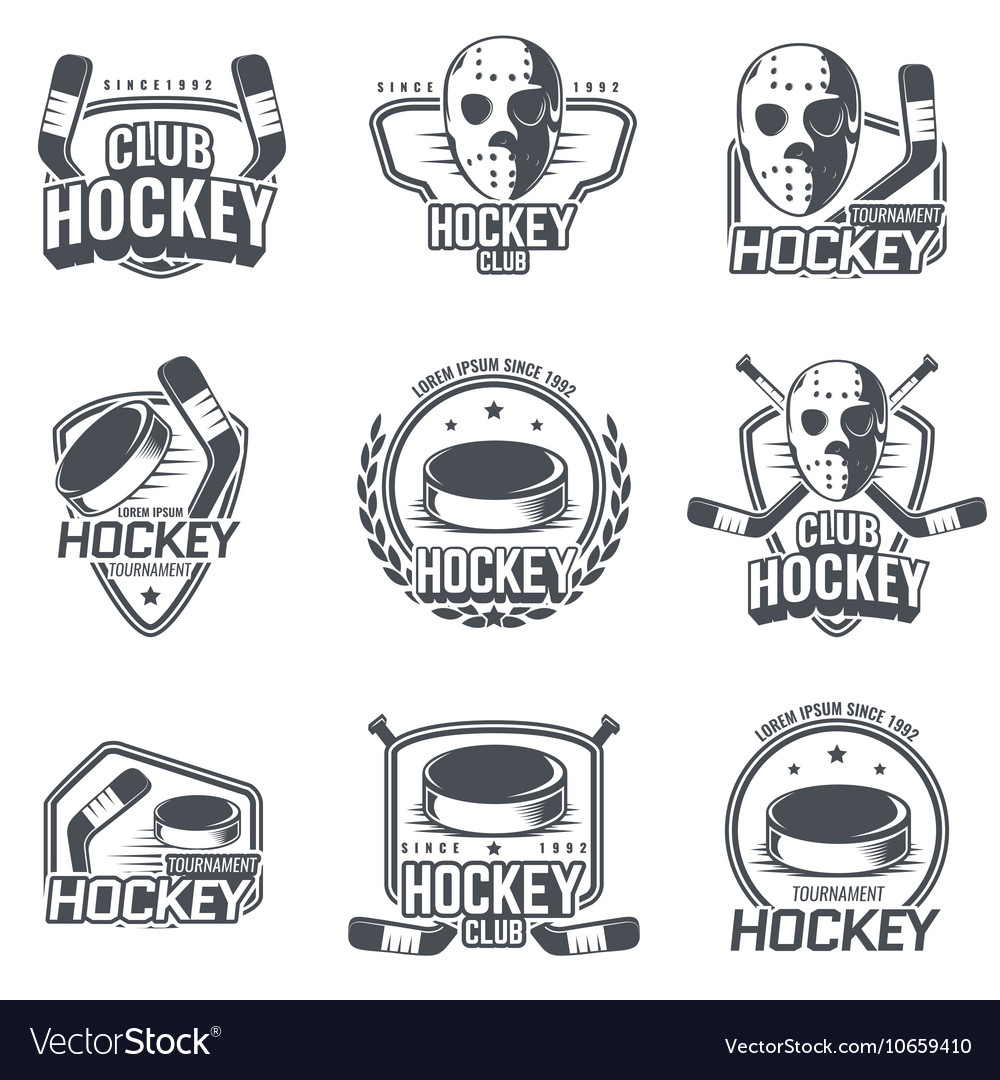 Set of sports logos for hockey