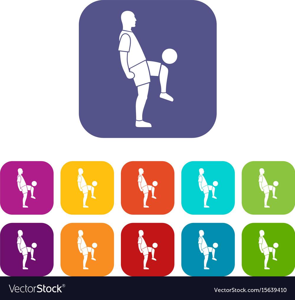 Soccer player man icons set flat vector image