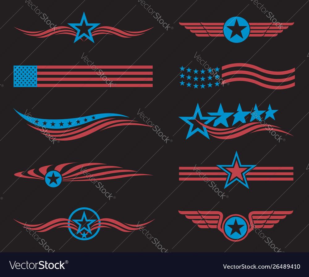 Usa flag set