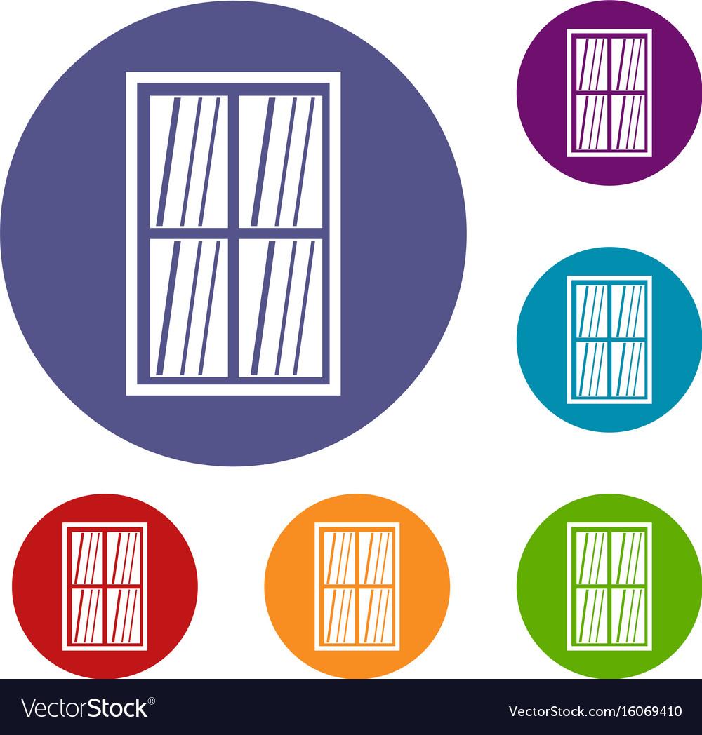 White latticed rectangle window icons set