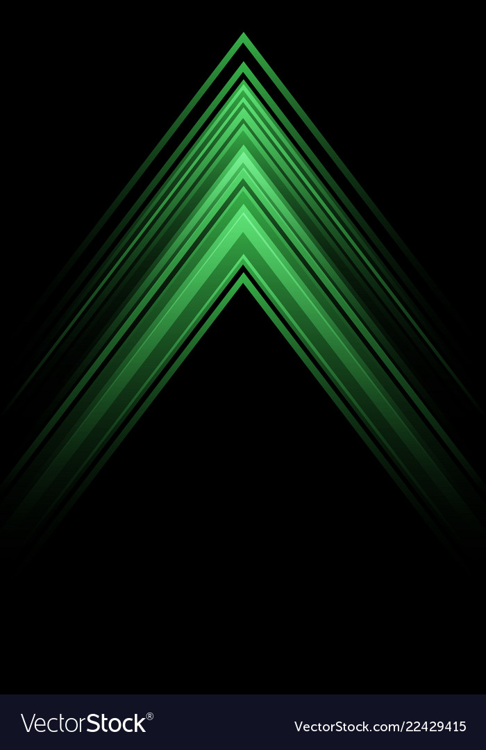 Abstract green light arrow speed direction on blac