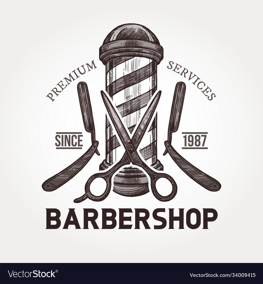 Barber shop sketch emblem