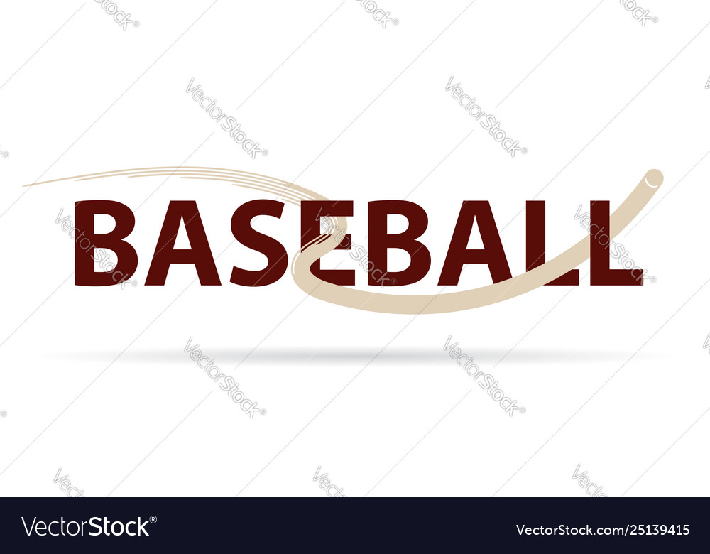 Baseball logo with fly ball symbol isolated on