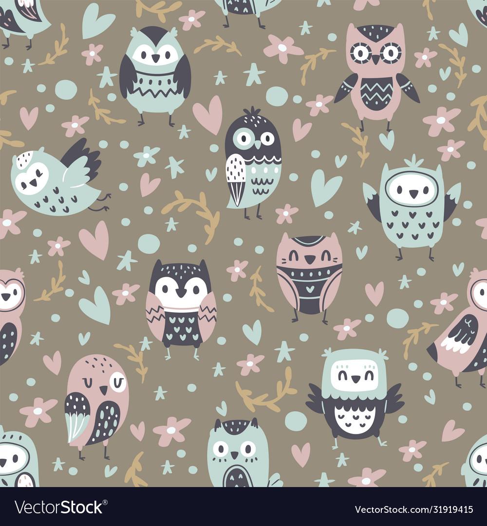 Cartoon funny owls seamless pattern cute animals