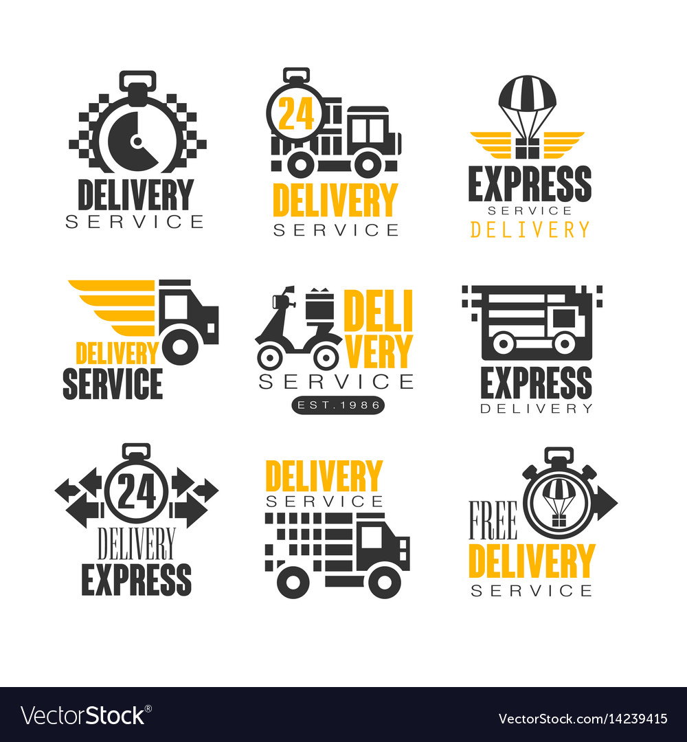 015fee452655a Delivery set for label design express delivery Vector Image