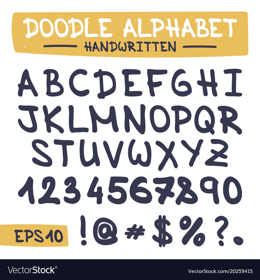 Doodle letters set - hand written alphabet