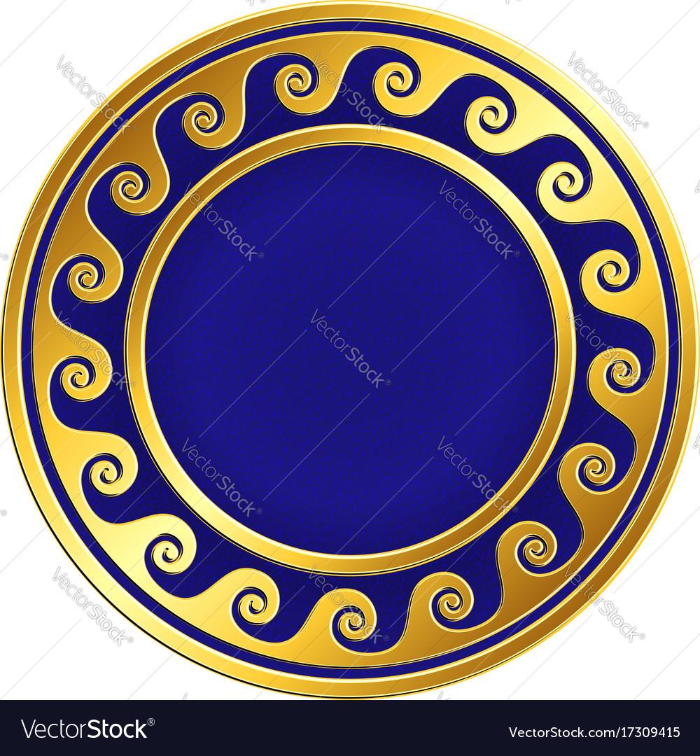 Golden round frame with greek meander pattern vector image