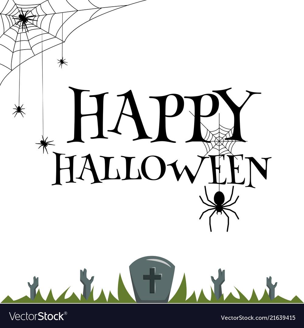Happy halloween spider web zombie hand in grave ve